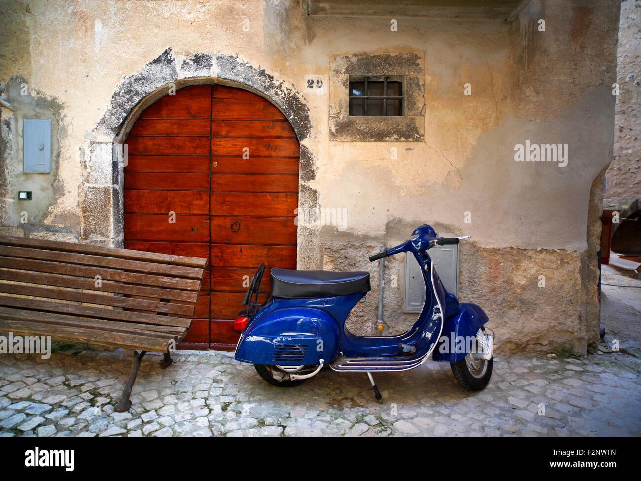 Vespa scooter, Fontecchio, Italy. - Stock Image