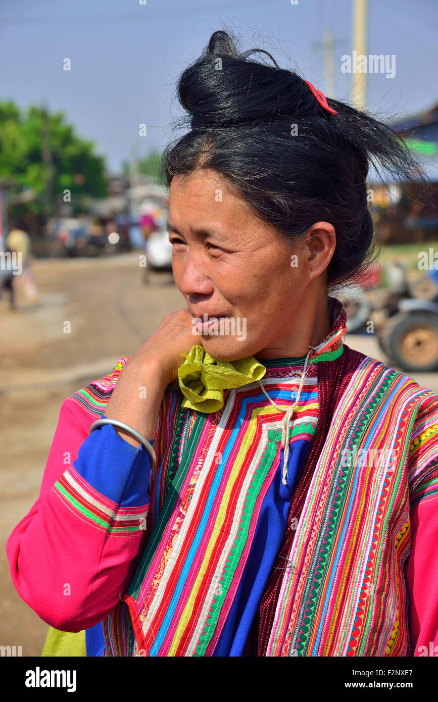 Tribal woman at Phekhone (Phe-khone) Jetty, Phekhone Village,  Myanmar (Burma, Birma), Asia - Stock Image