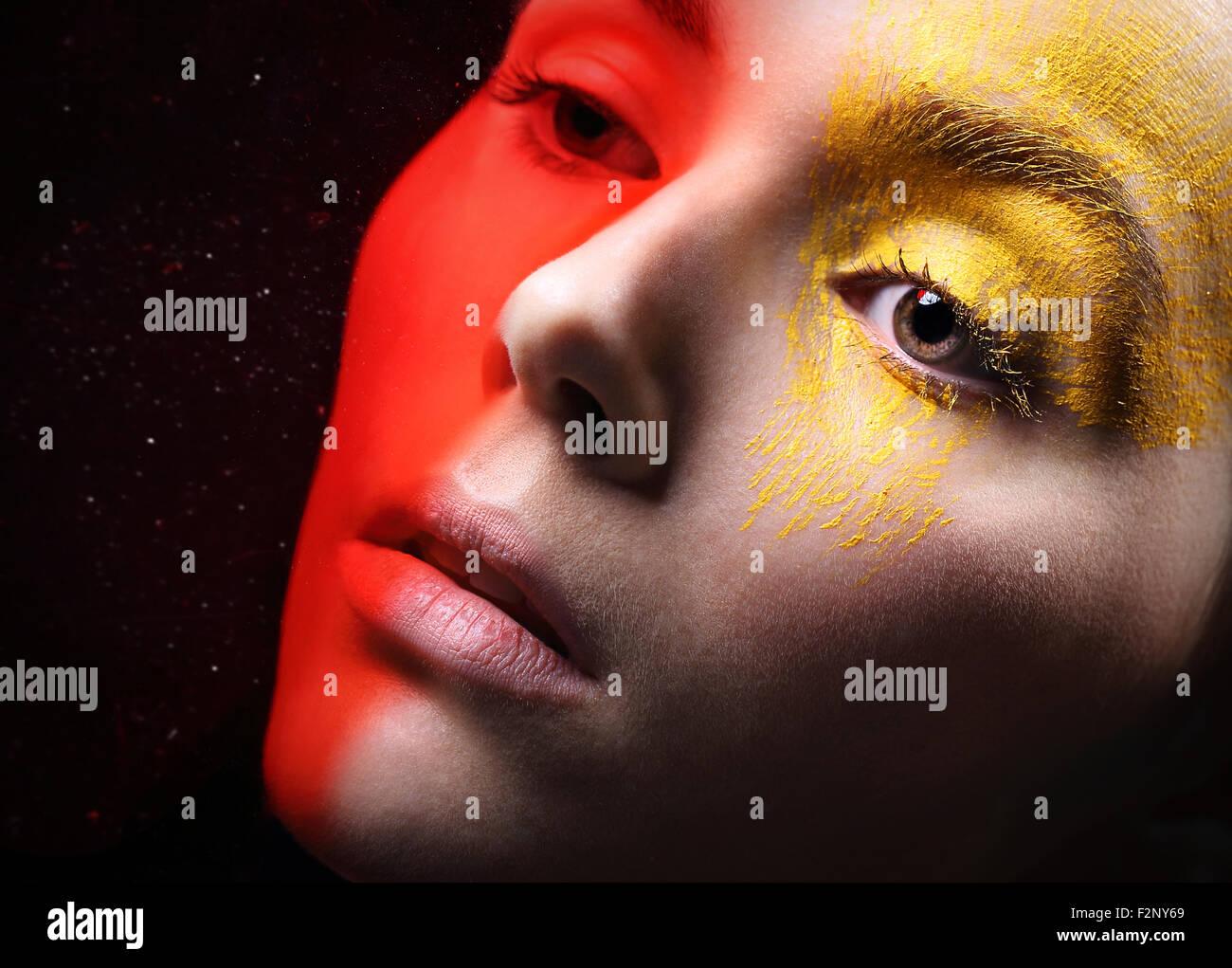make-up, makeup, characterization, colorful makeup, disguise, fancy make-up, makeup artist,  artistic makeup, fantasy, - Stock Image