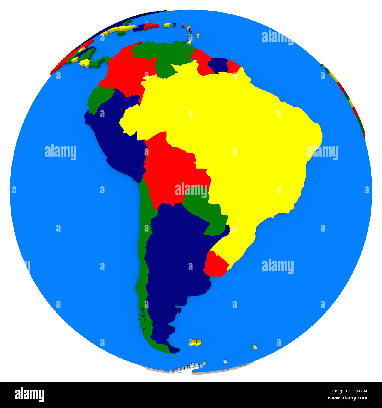 Political map of south america on globe illustration isolated on political map of south america on globe illustration isolated on white background gumiabroncs Choice Image