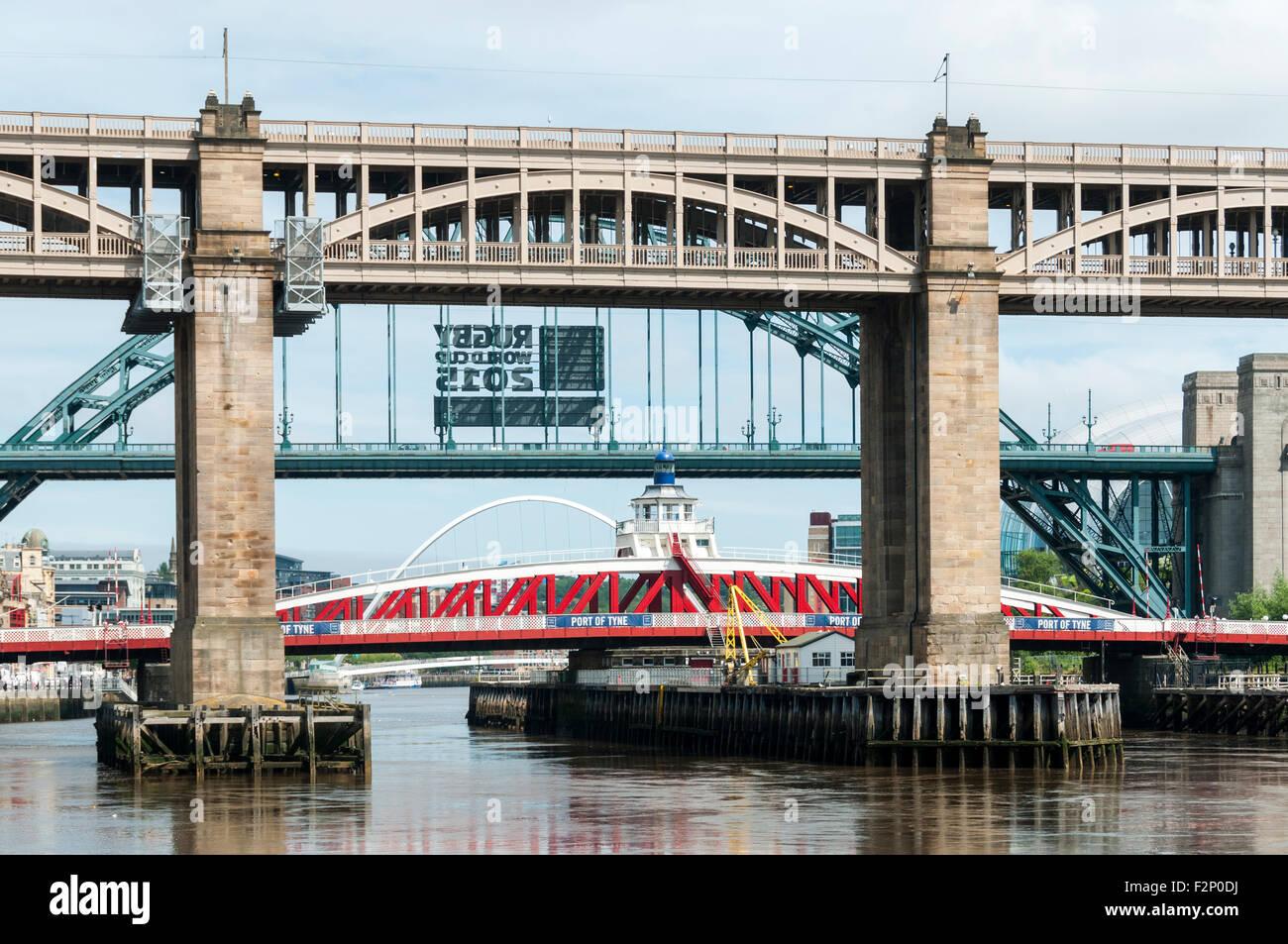 The High Level, Tyne and Swing bridges over the river Tyne, Newcastle-Gateshead, Tyne and Wear, England, UK. - Stock Image