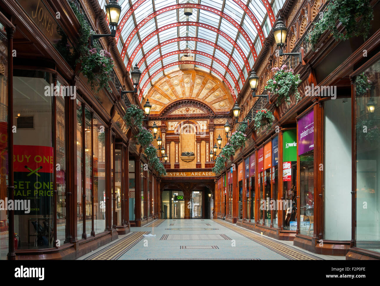 Central Arcade, an Edwardian (1906) shopping arcade in Newcastle upon Tyne, Tyne and Wear, England, UK - Stock Image