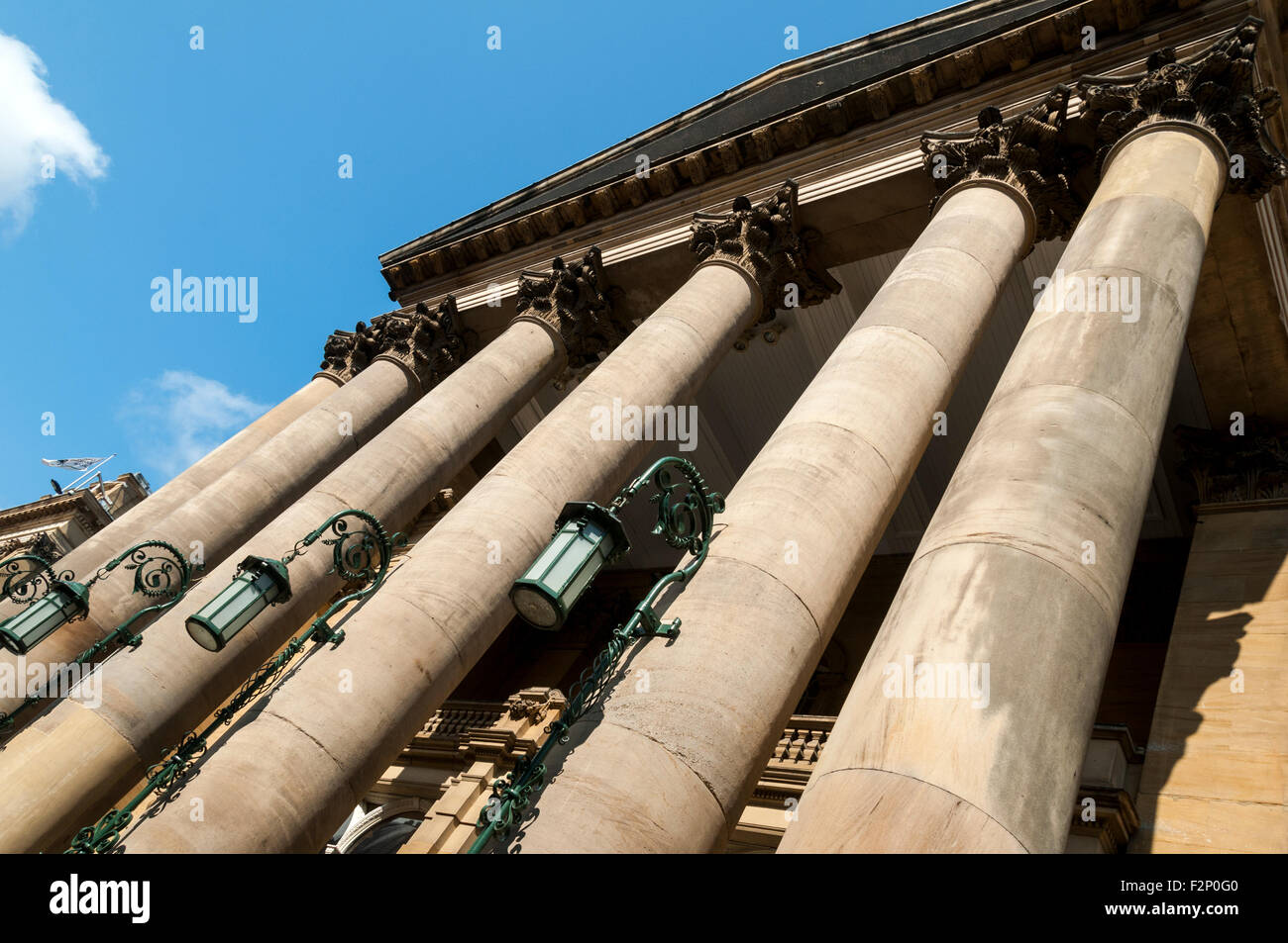 Lamp and columns outside the Theatre Royal, Grey Street, Newcastle upon Tyne, Tyne and Wear, England, UK. - Stock Image