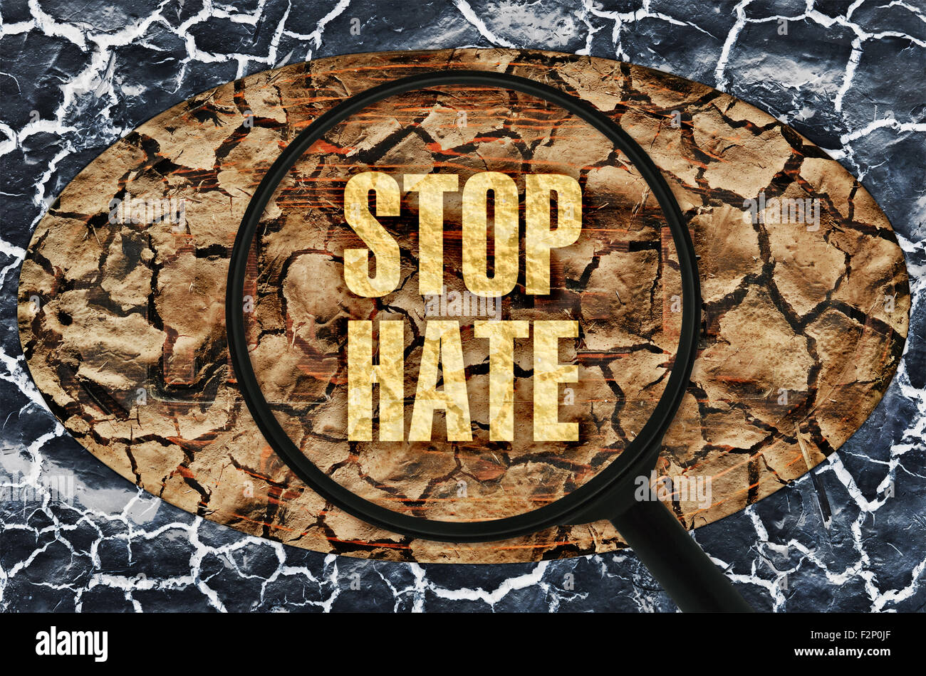 Text Stop Hate under a magnifier on abstract background - Stock Image