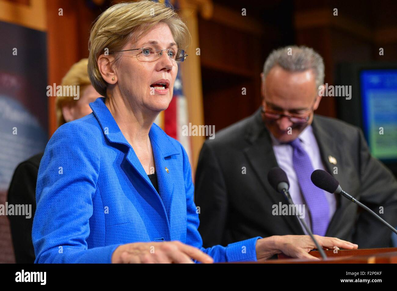 U.S. Senator Elizabeth Warren joins other democrats during a press conference calling for Republicans to support Stock Photo