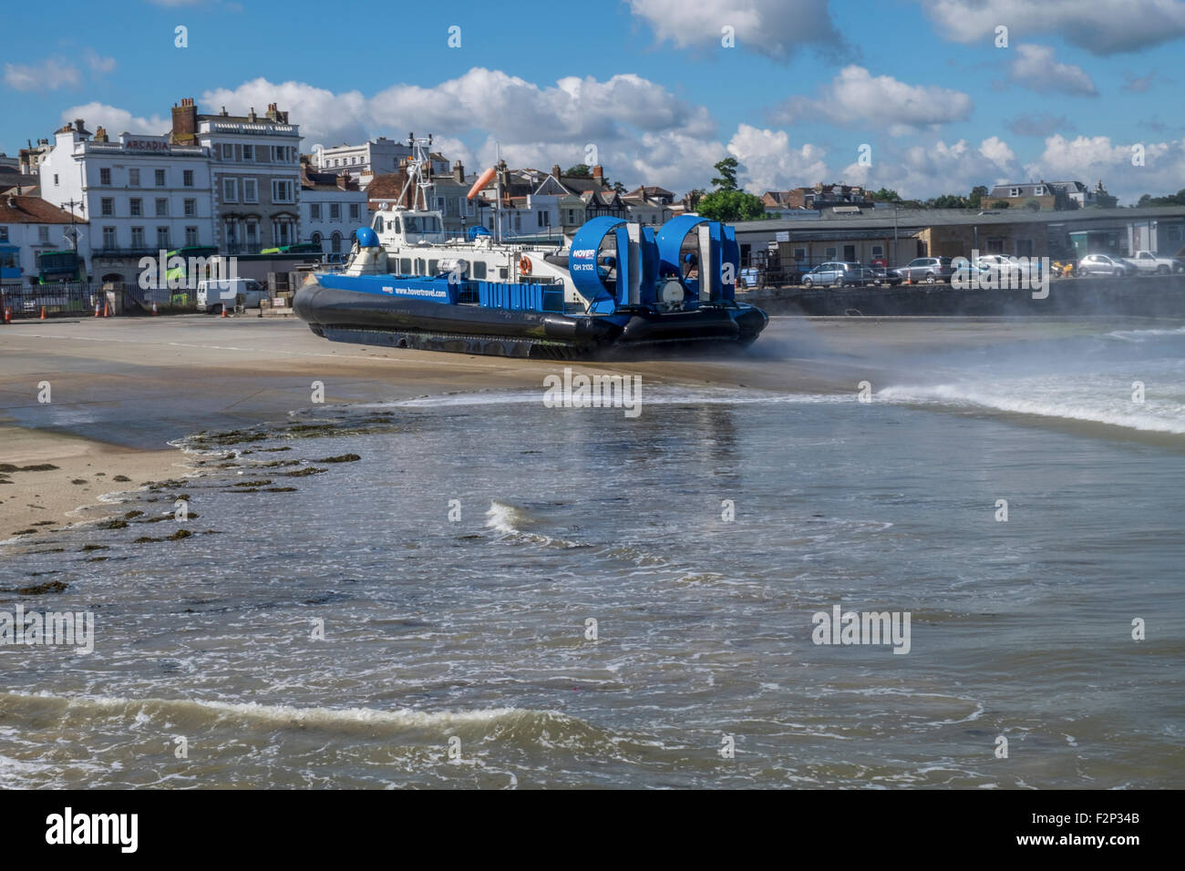Hovercraft ferry on the quayside which has just starting to power up, - Stock Image