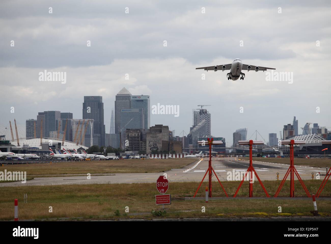 CityJet Bae146 EI-RJT @ LCY London City Airport - Stock Image