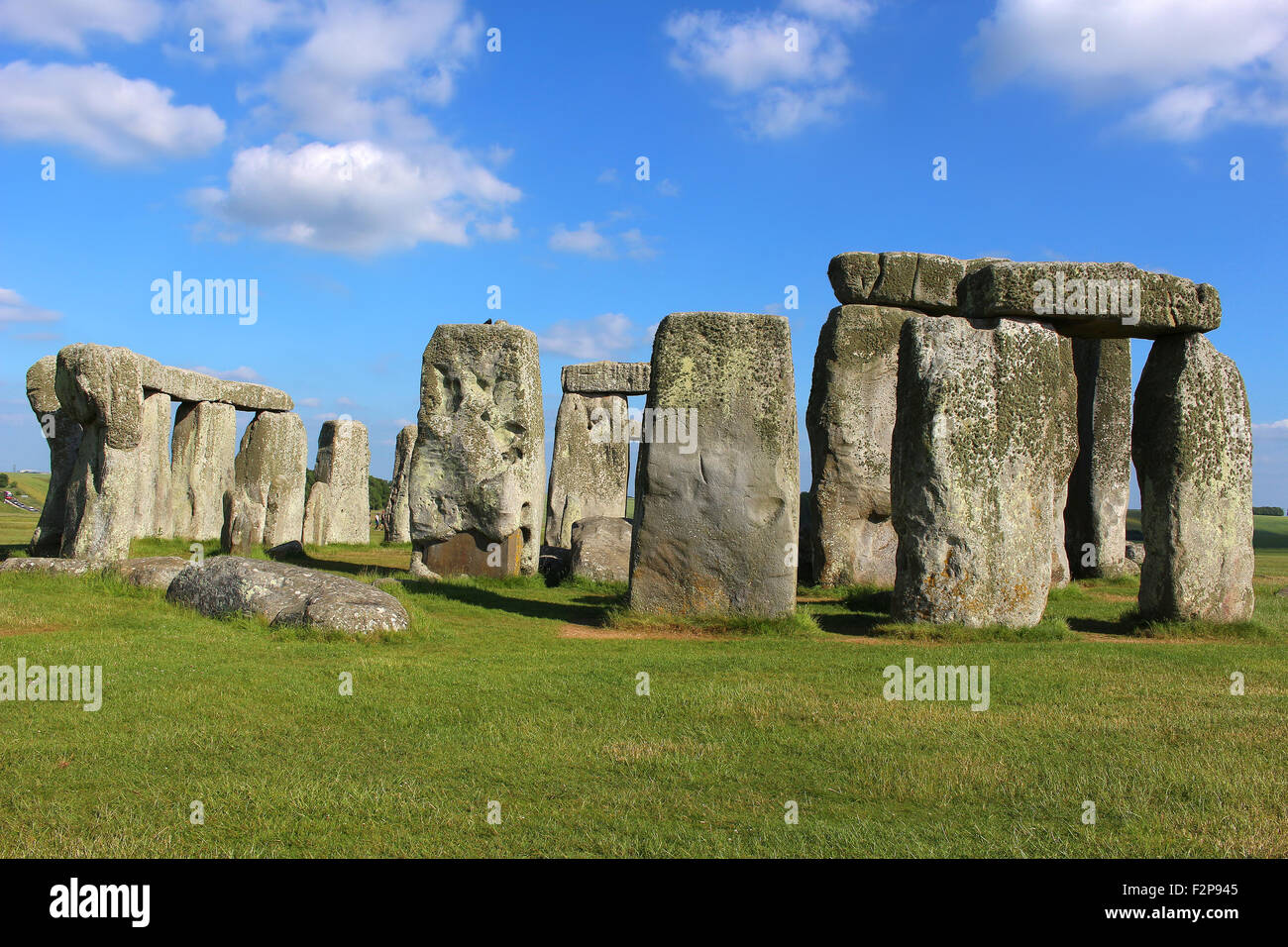 Stonehenge under a blue sky - Stock Image