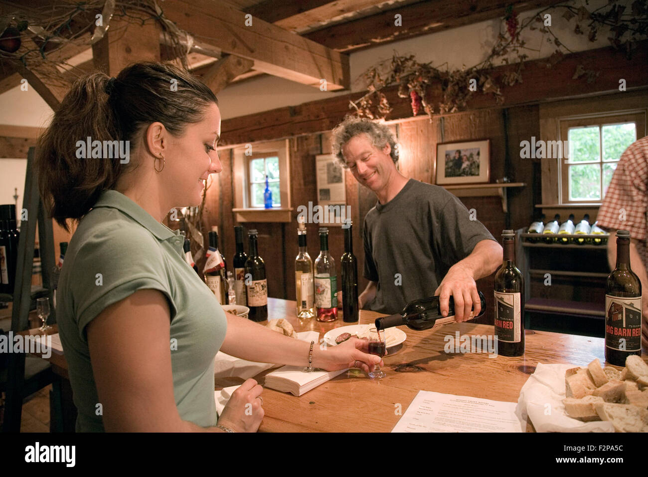 Wine tasting at Boyden Valley Winery, Lamoille River Valley near Stowe, Vermont, USA Stock Photo