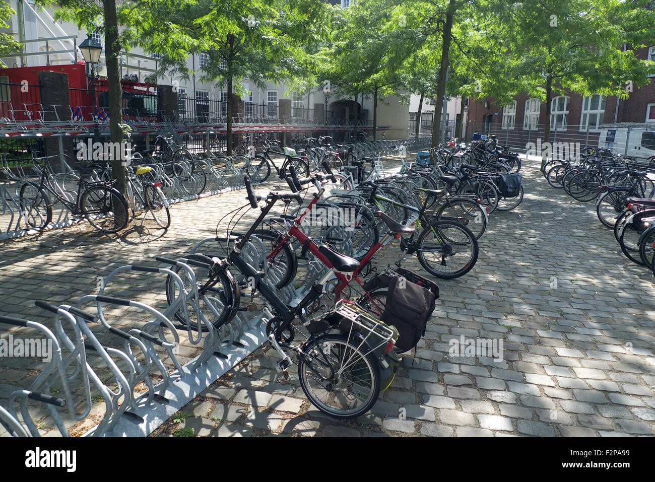 Secure cycle parking area, Breda, Netherlands. - Stock Image