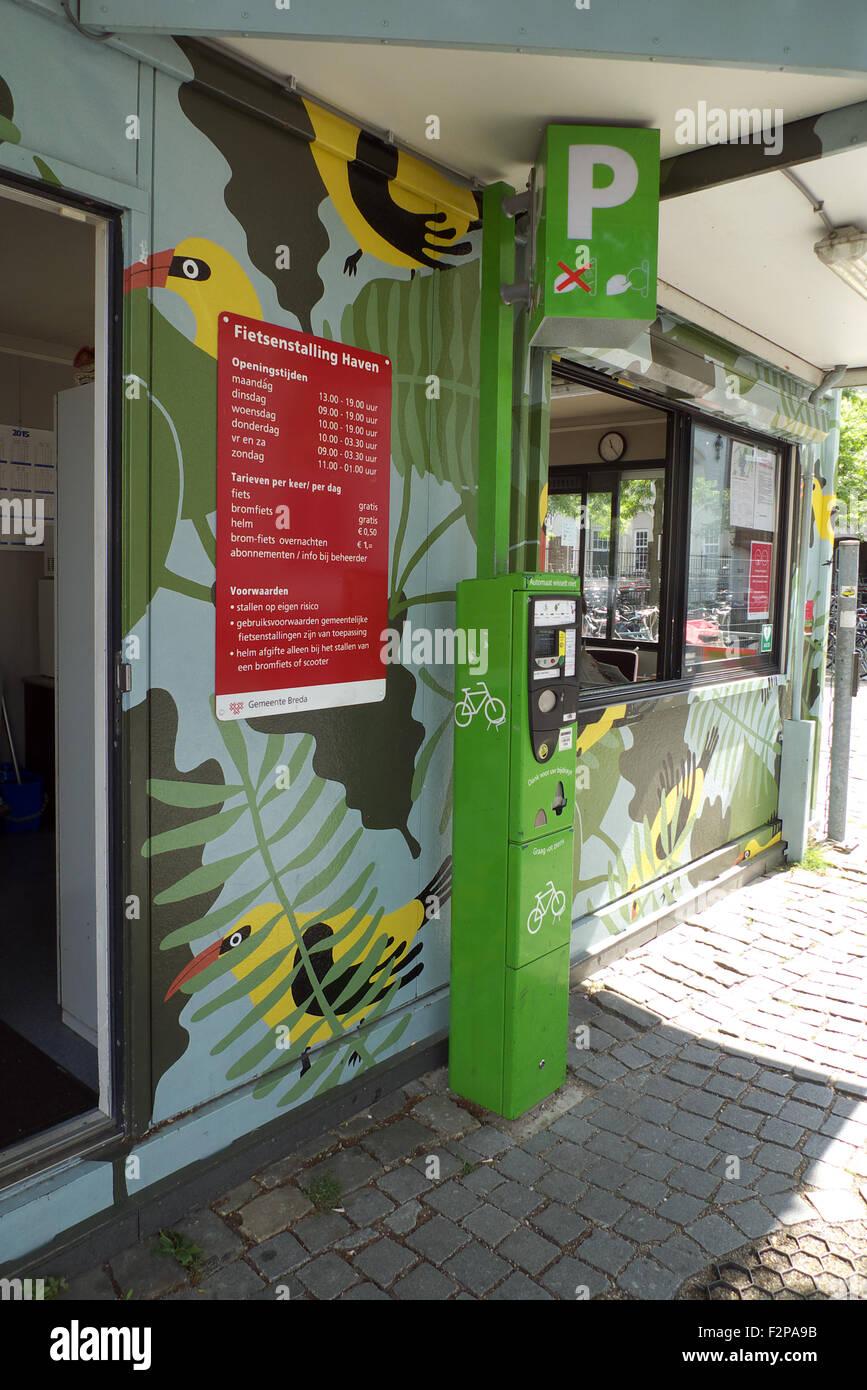 Secure cycle parking area - kiosk, Breda, Netherlands. - Stock Image