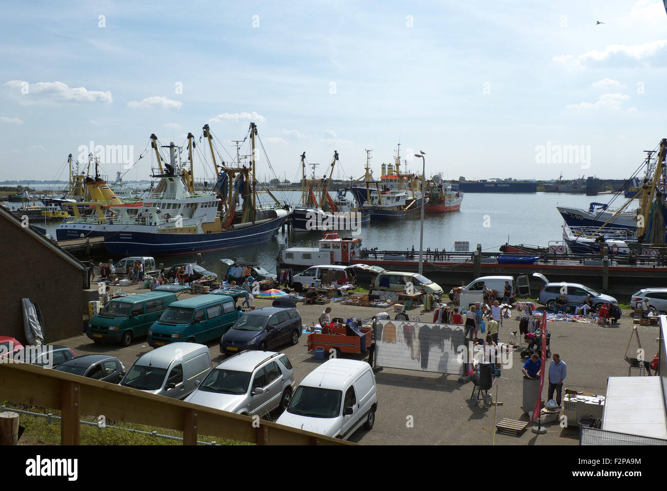 Market and car-boot sale, Deltahaven, nr Stellendam, Goeree-Overflakkee, Zuid-Holland, Netherlands - Stock Image