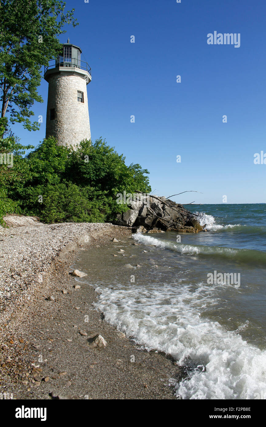 Lighthouse at the northernmost tip of the Pelee Island, Lake Erie, Ontario. Area belongs to Lighthouse Point Provincial - Stock Image