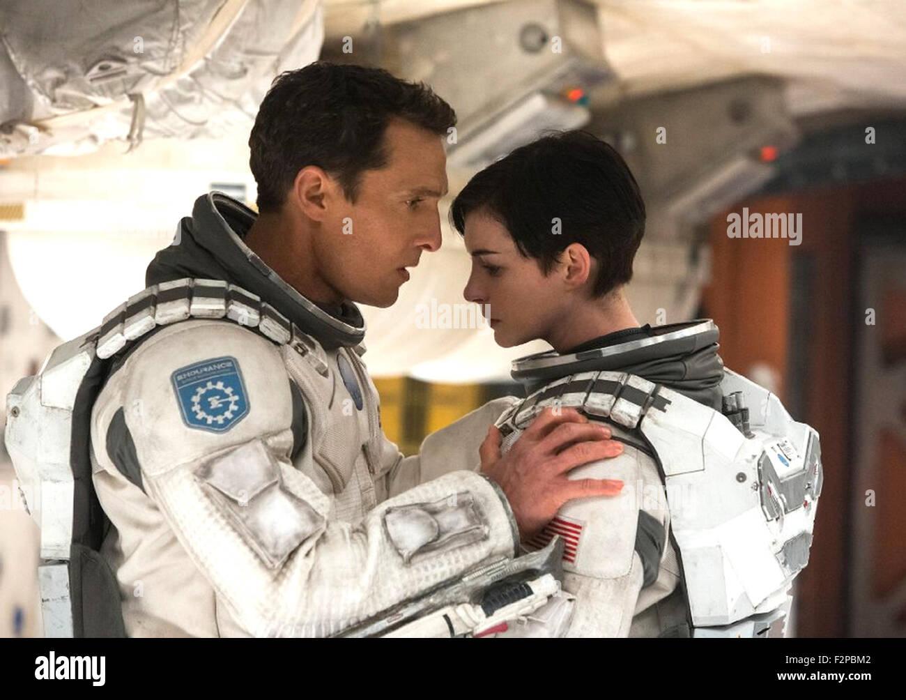 INTERSTELLAR 2014 Warner Bros film with Anne Hathaway and Matthew McConaughey - Stock Image
