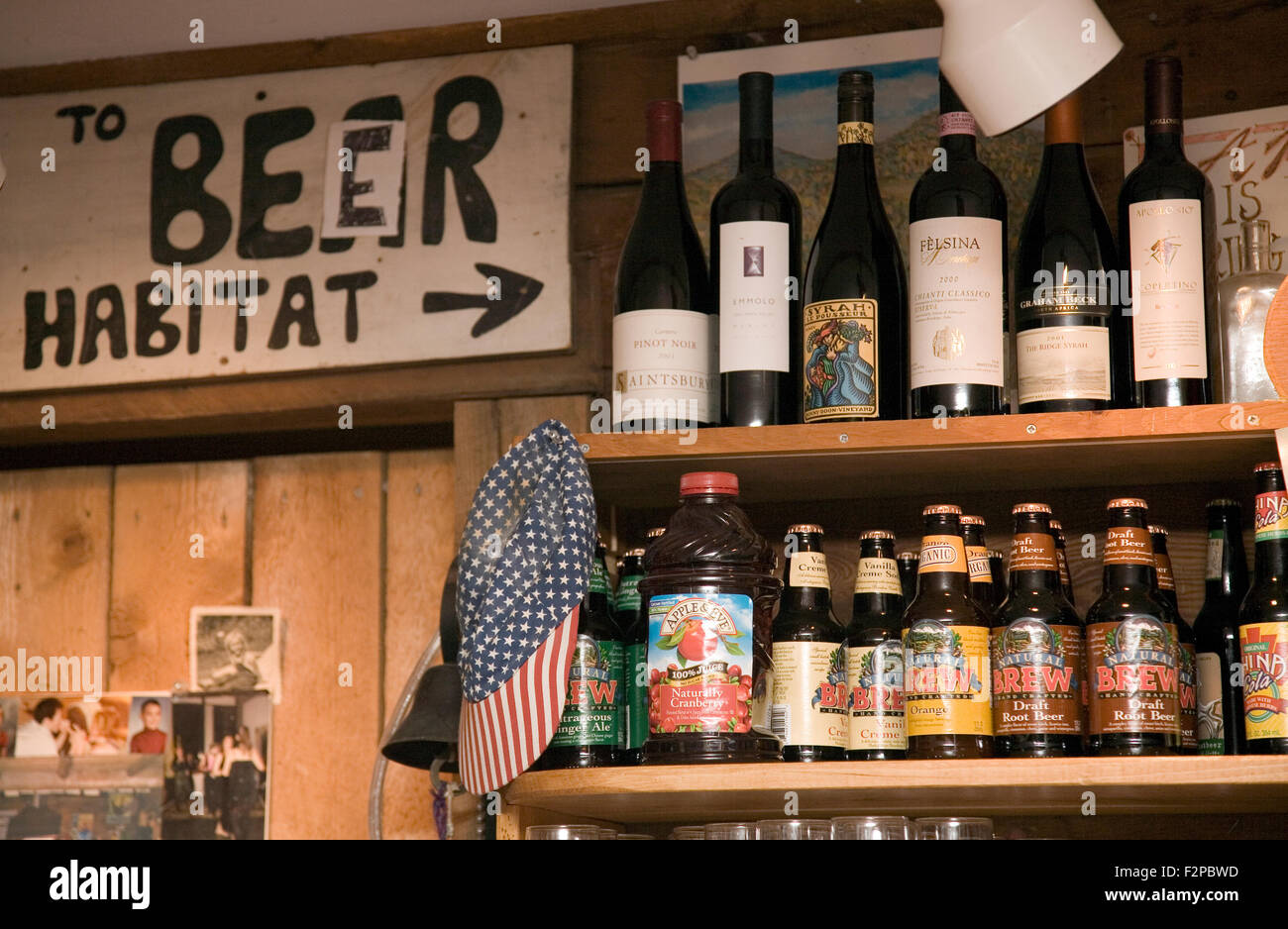Alcohol selection wall at American Flatbread restaurant, Waitsfield, Vermont, USA Stock Photo