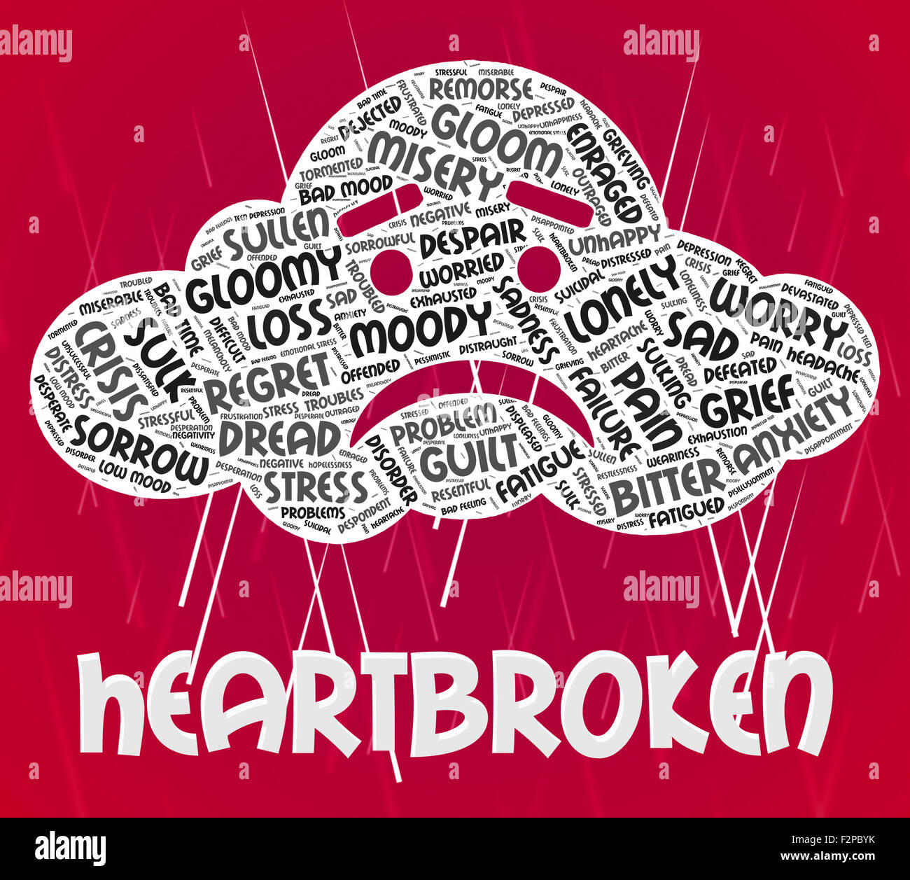 Heartbroken Word Representing Heavy Hearted And Downcast - Stock Image