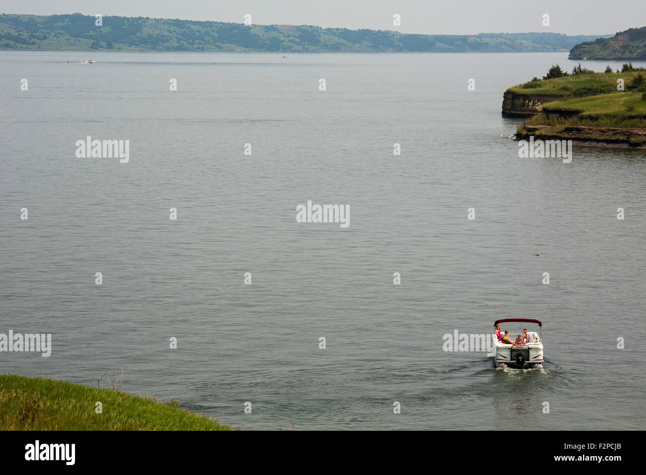 Gregory County, South Dakota - Boating on Lake Francis Case, a reservoir behind the Fort Randall Dam on the Missouri - Stock Image