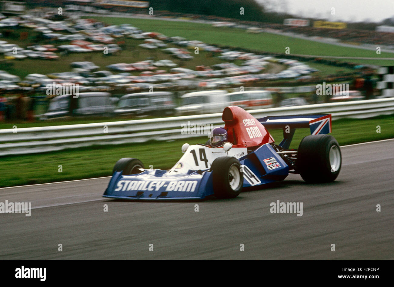 Bob Evans in his Stanley BRM 1975 - Stock Image