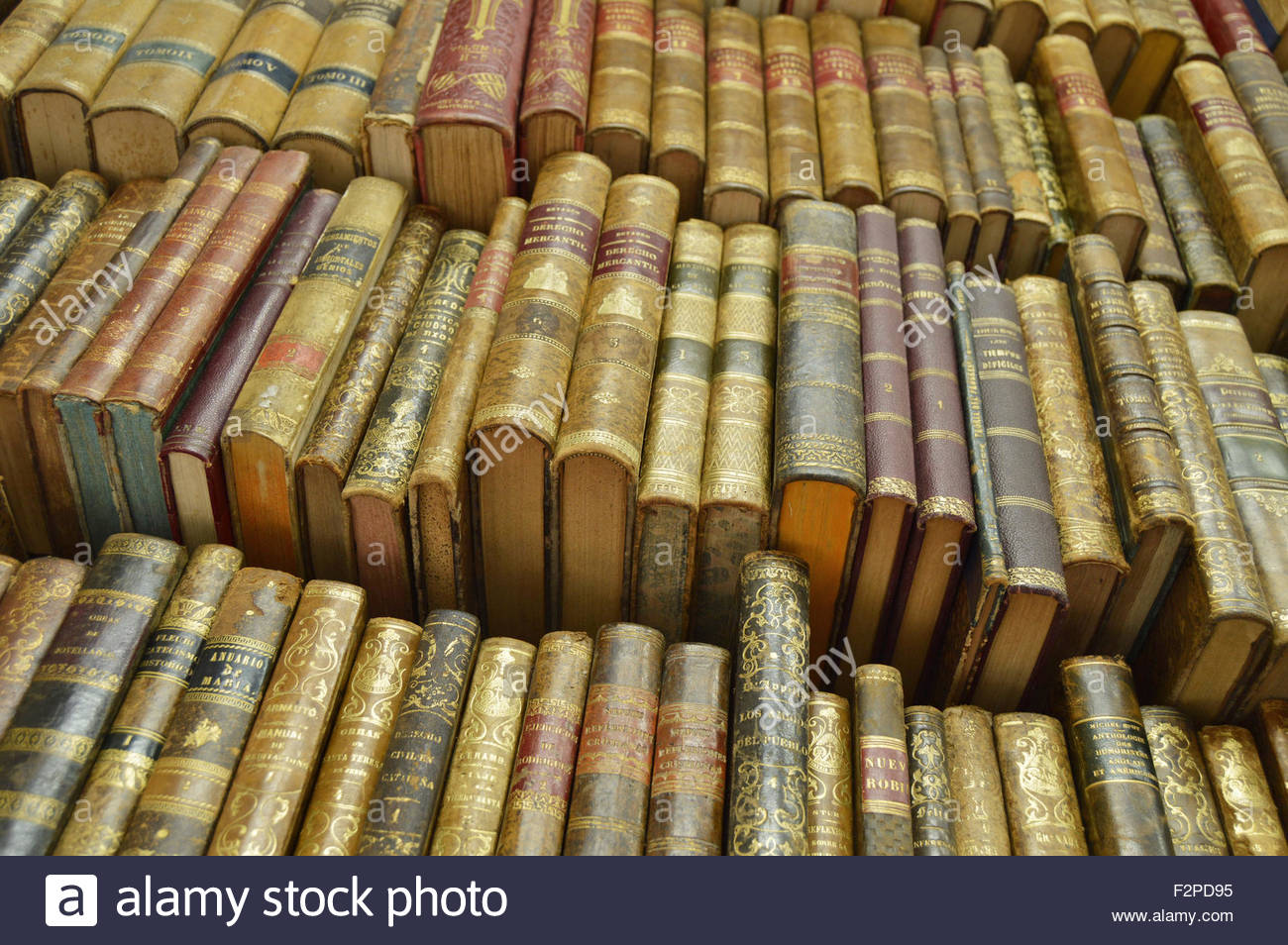 Old secondhand books displayed at bookshop in Barcelona Spain Europe. Stock Photo