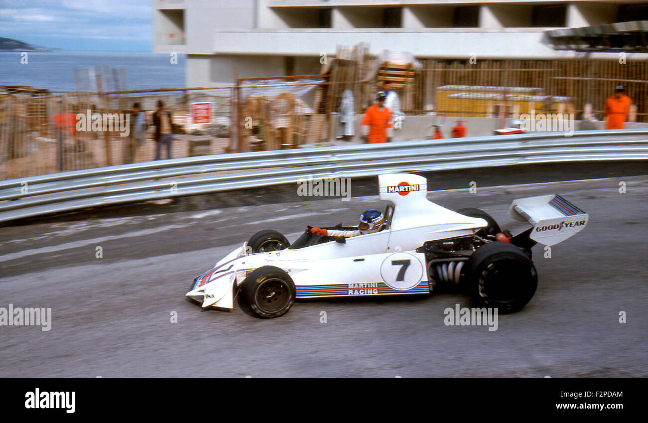 Carlos Reutemann in a Brabham BT44B at the Monaco GP in Monte Carlo 1975 - Stock Image