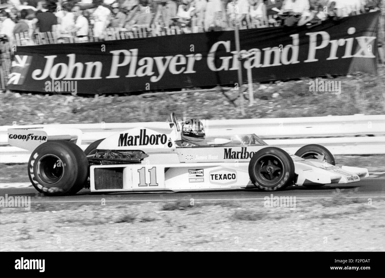 James Hunt in a McLaren M23 at the British GP at Brands Hatch 1976 - Stock Image