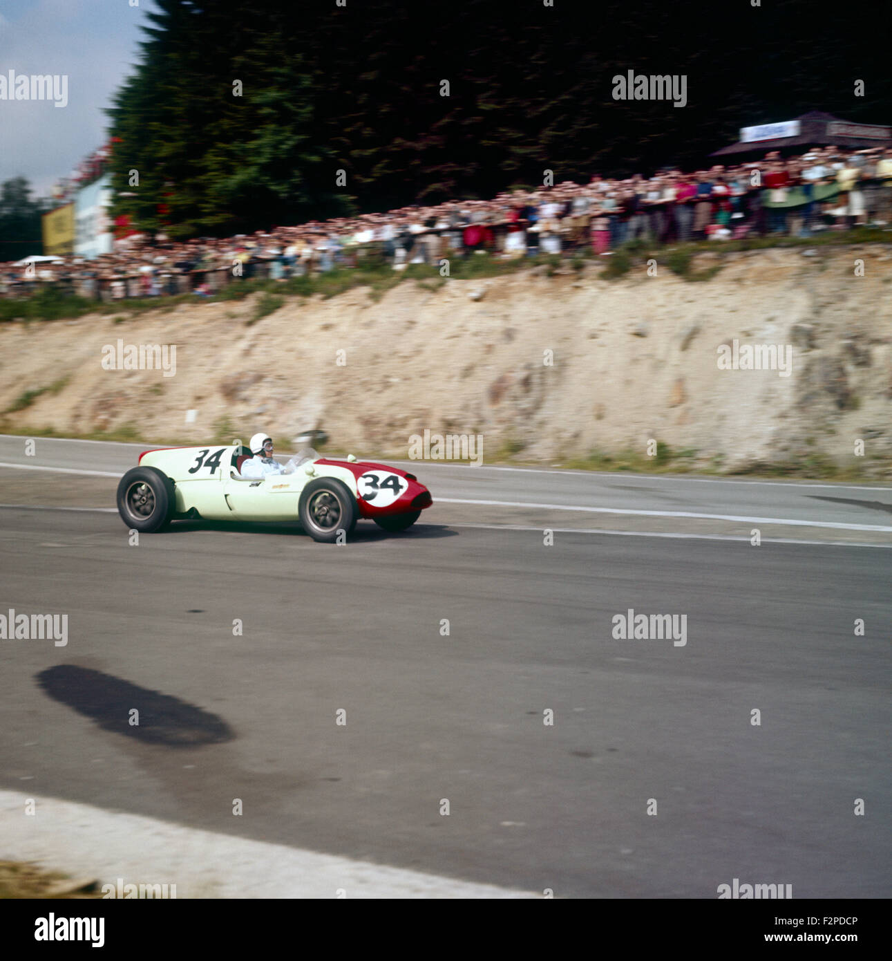 Olivier Gendebien in a Cooper Climax T51, finished 3rd in the Belgian GP 19 June 1960 - Stock Image
