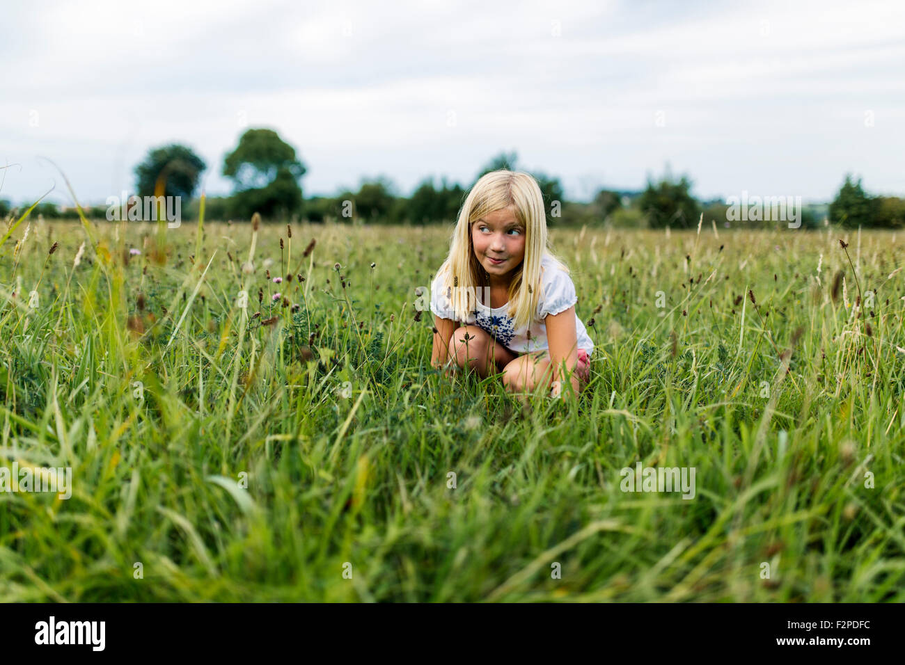 Portrait of girl crouching on a meadow - Stock Image
