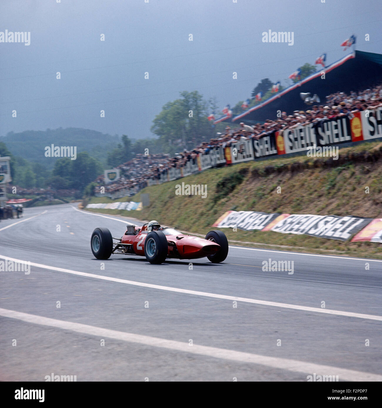 John Surtees in a Ferrari 158 finished 3rd in the French GP at Clermont Ferrand 27 June 1965 - Stock Image