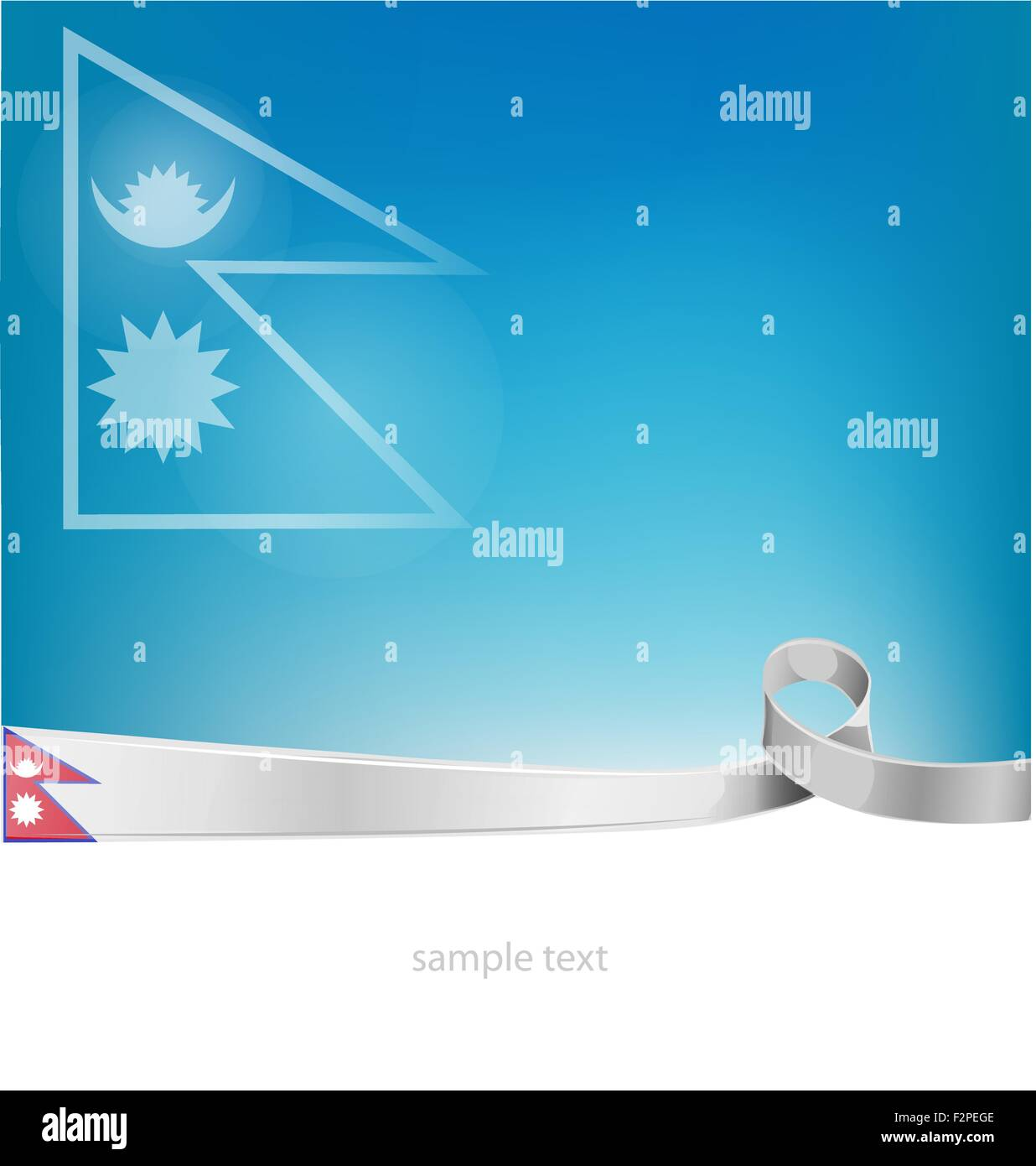 nepal flag on sky background - Stock Vector