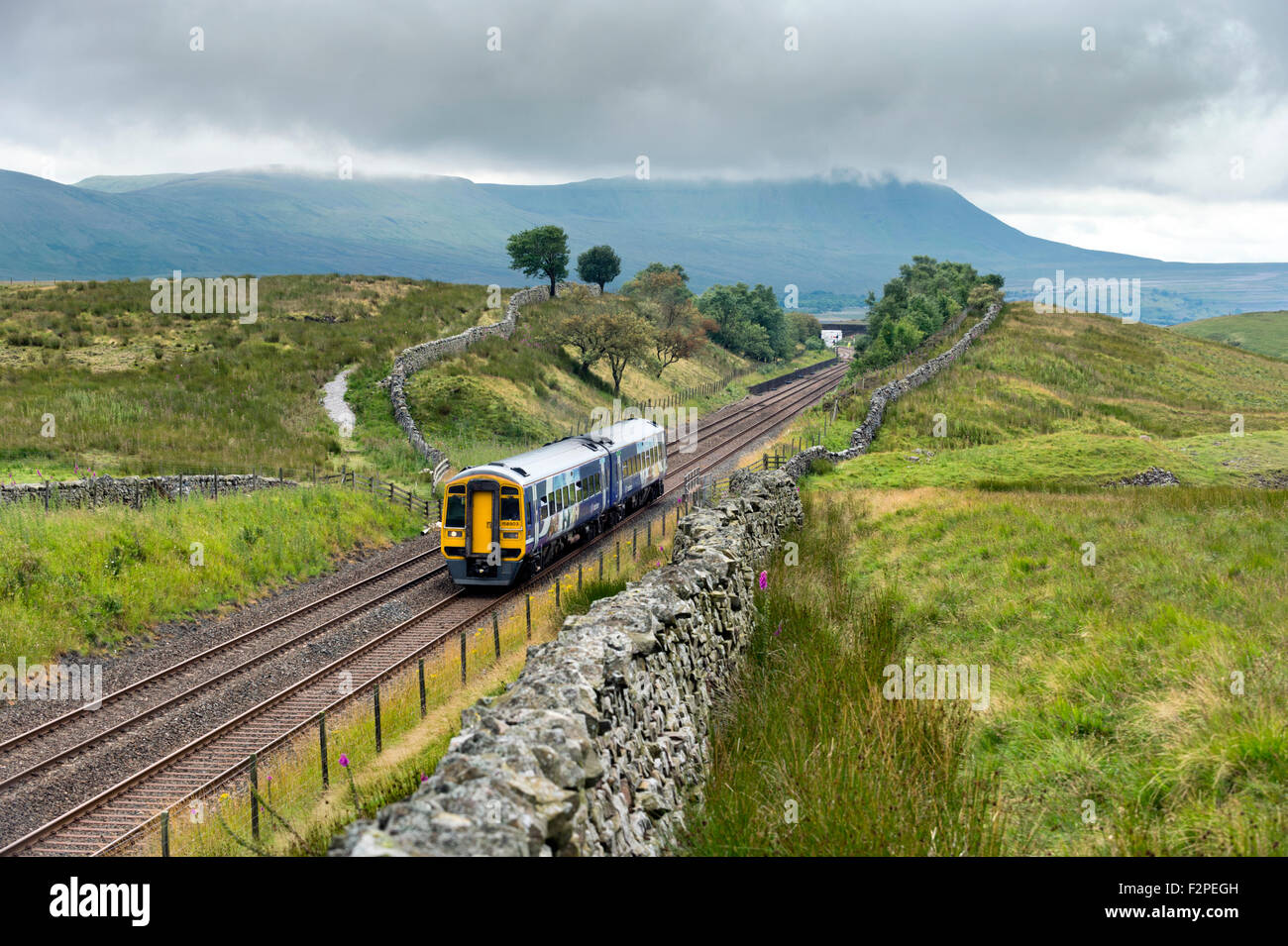 A Sprinter passenger train at Blea Moor on the Settle to Carlisle railway line, with Ingleborough hill in the background - Stock Image