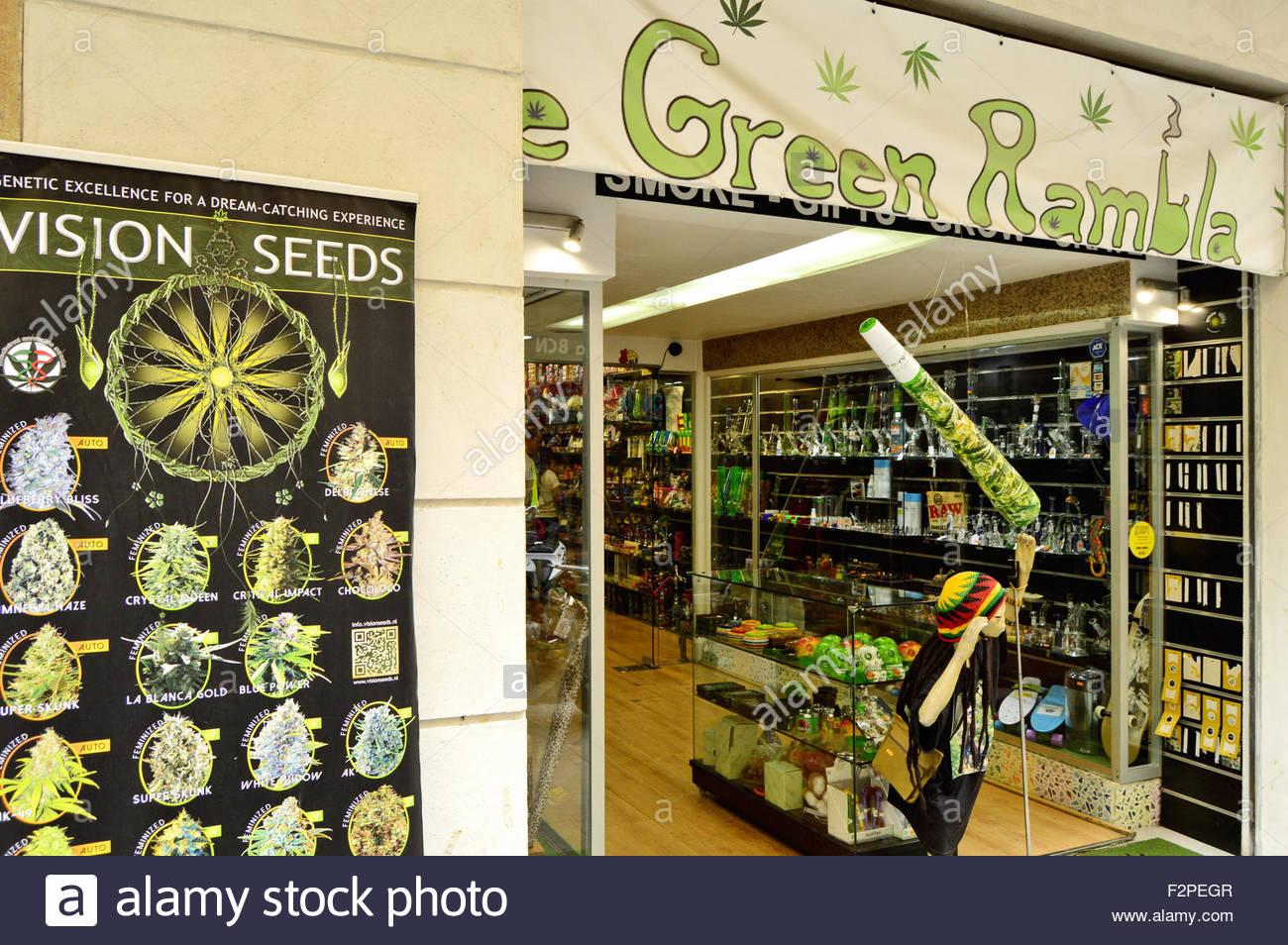 'The Green Rambla' cannabis seeds and gift shop in Ciutat Vella Barcelona Catalonia Spain Europe - Stock Image