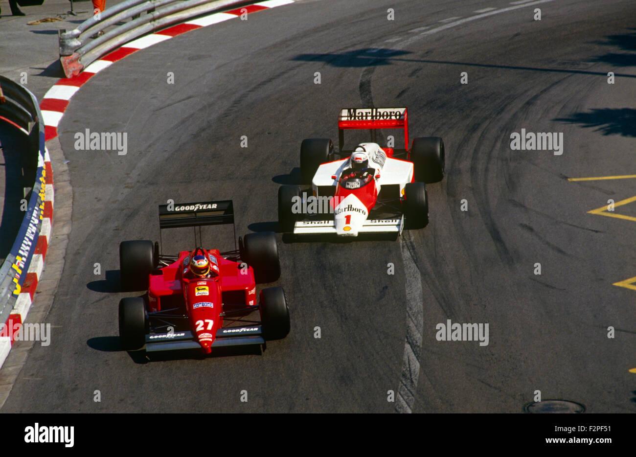 Alboreto in his Ferrari leading Prost in his McLaren 1987 Stock Photo