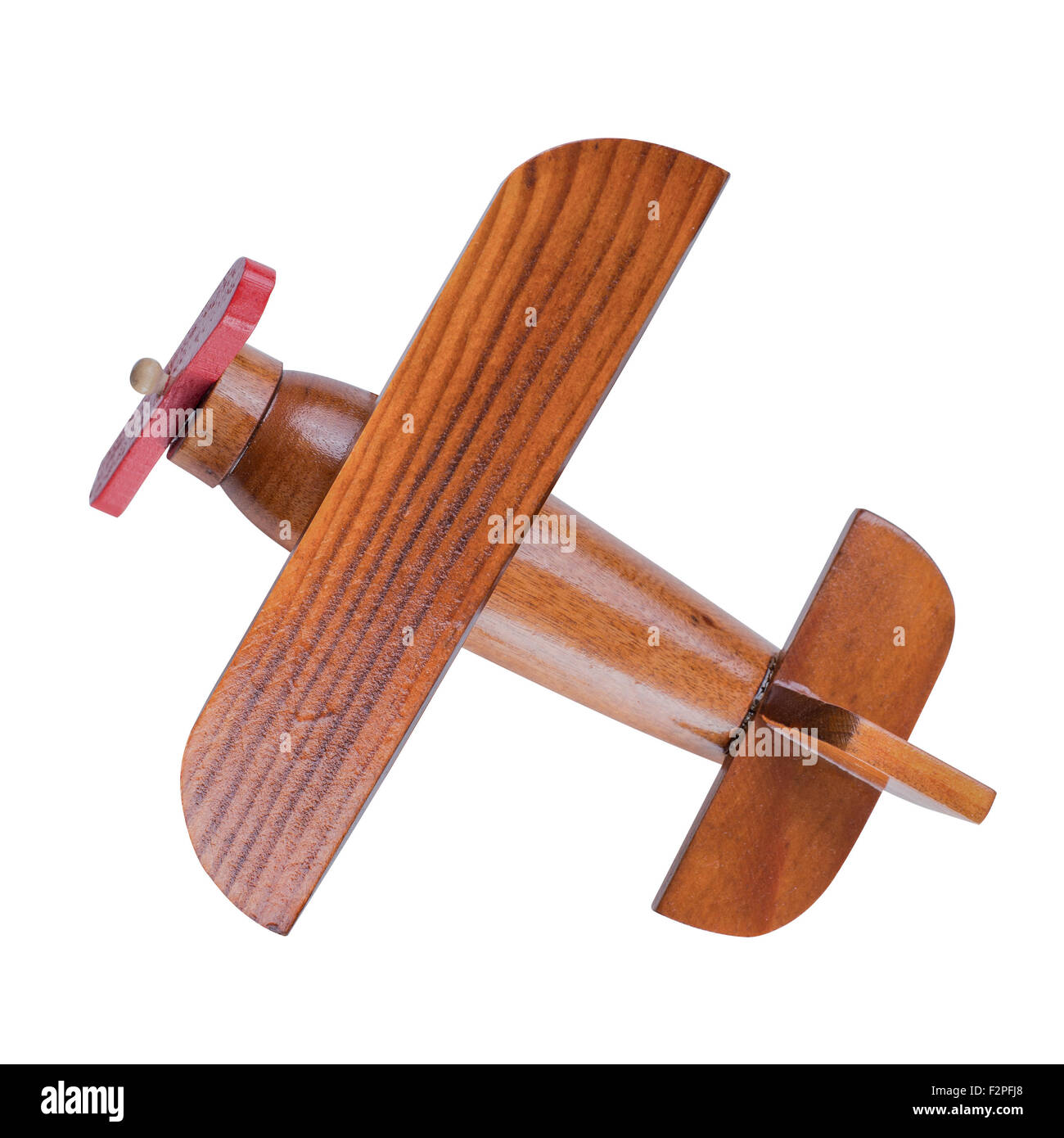 Wooden airplane model top view with clipping path included - Stock Image