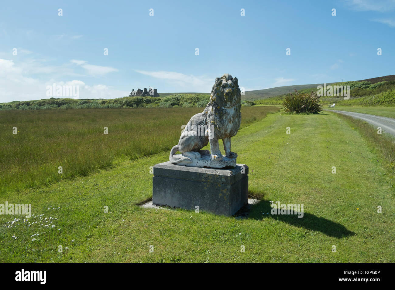 Lion Statue, Trumland House, Island of Rousay, Orkney, Scotland UK - Stock Image