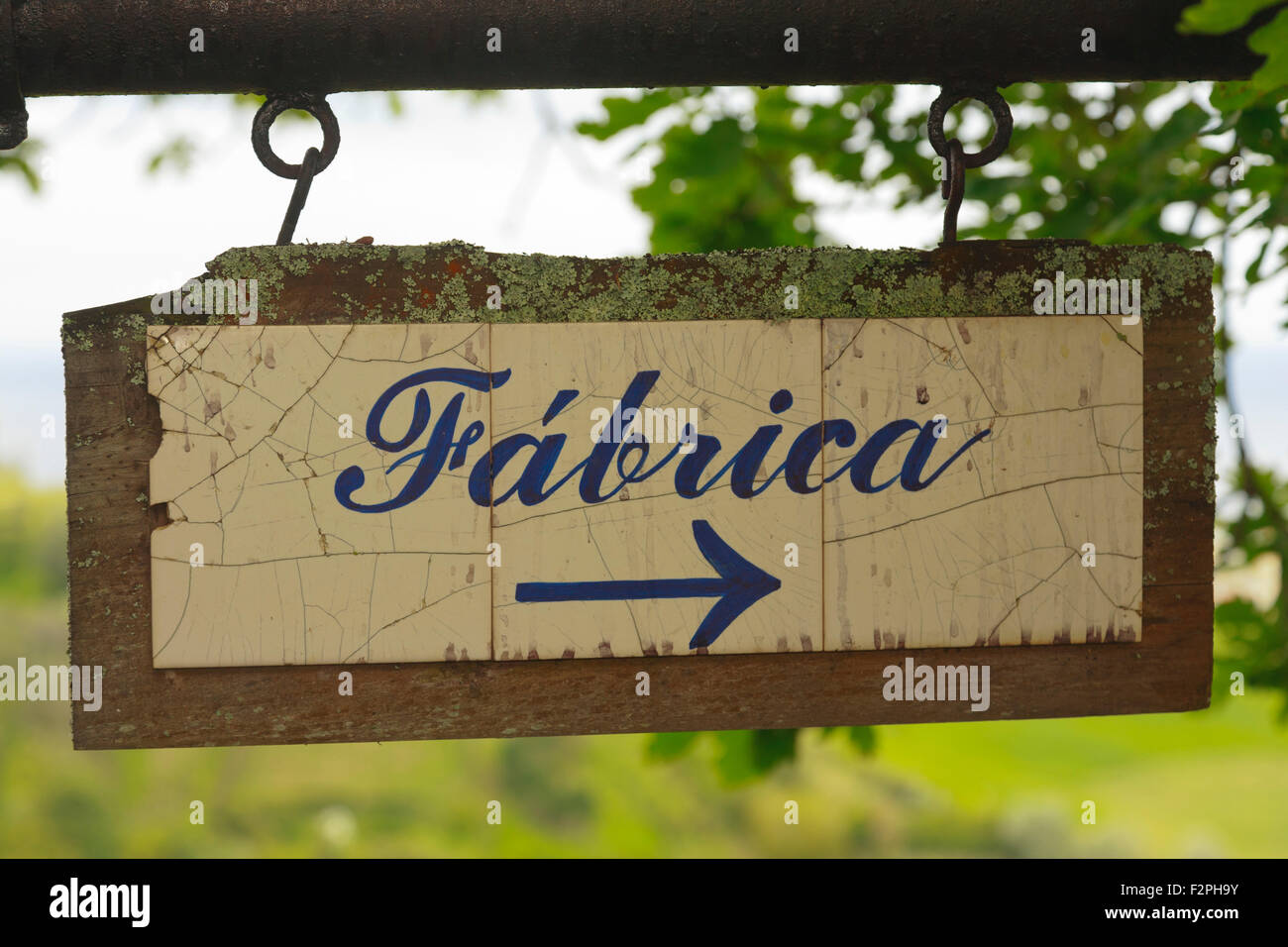 Sign indicating the way to the tea factory in Porto Formoso, Azores islands, Portugal. - Stock Image