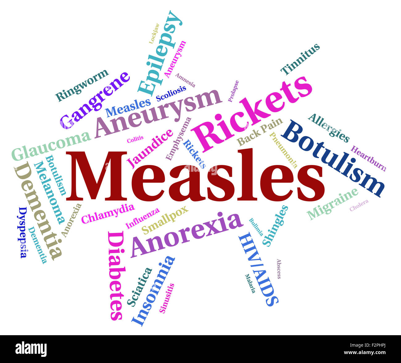Measles Illness Meaning Poor Health And Complaint - Stock Image
