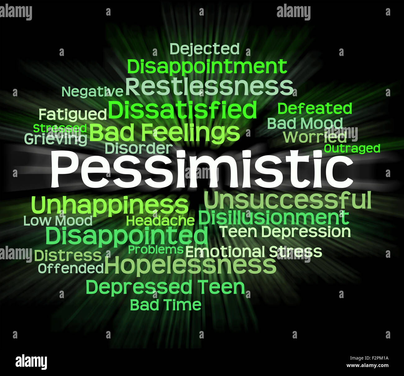 Pessimistic Word Meaning Fatalistic Words And Melancholy - Stock Image
