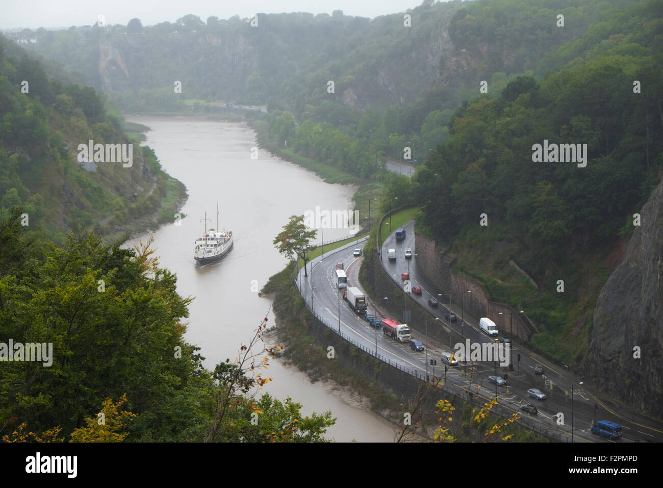 The historic ship MV Balmoral coming up the Avon Gorge towards Bristol England UK Seen from the Clifton suspension Stock Photo