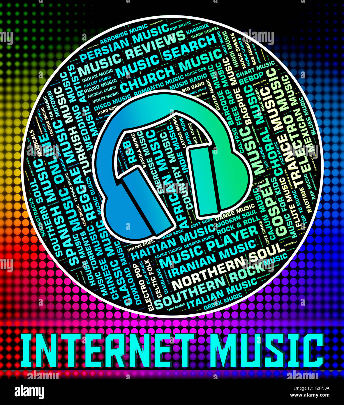 Internet Music Indicating World Wide Web And Web Site Stock