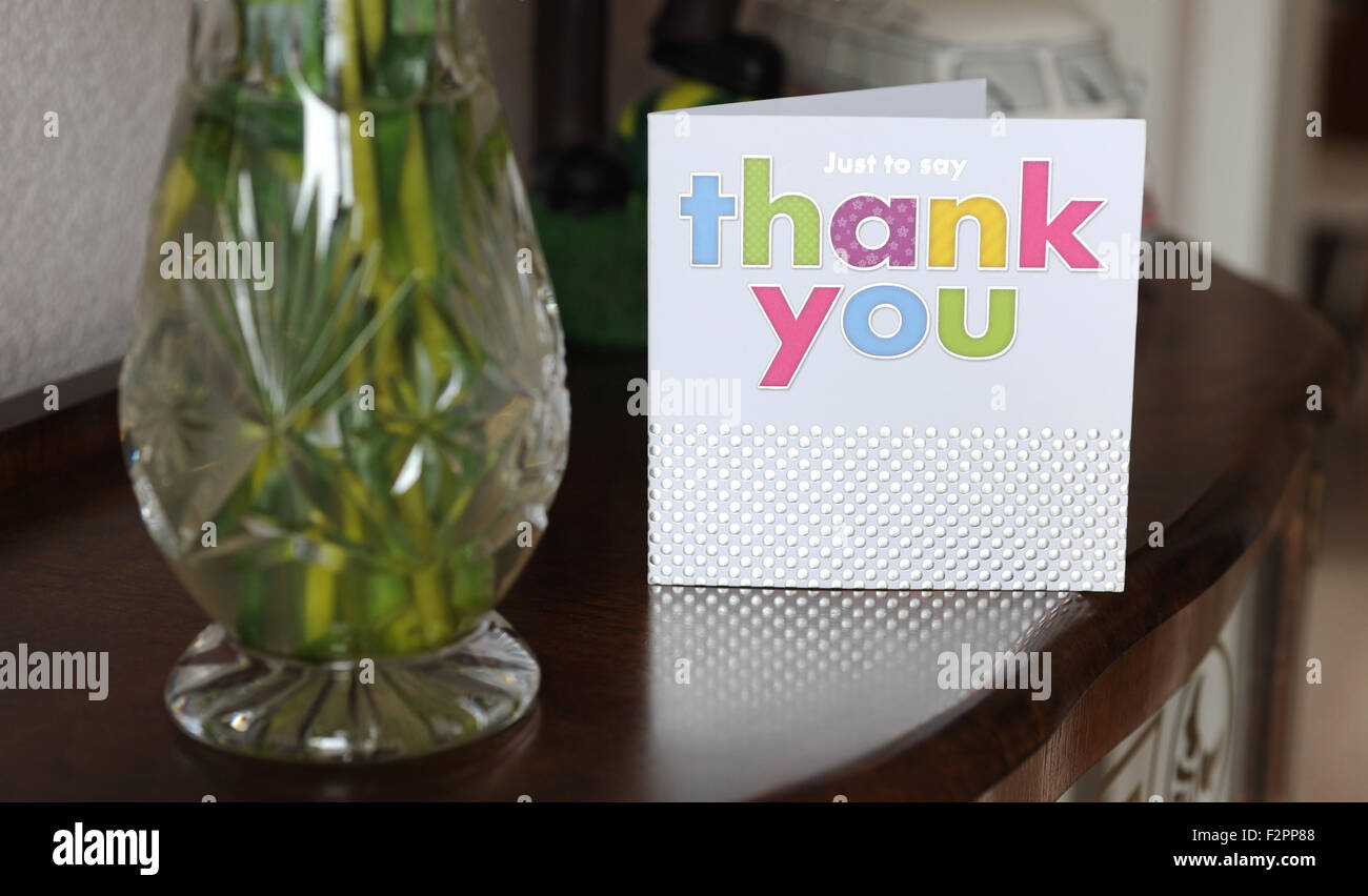 THANKYOU CARD ON SIDEBOARD RE FRIENDS HELPING BIRTHDAY GIFTS GIFT CARDS PRESENTS NEIGHBOURS CHRISTMAS PARTY KIDS SENDING POSTAL