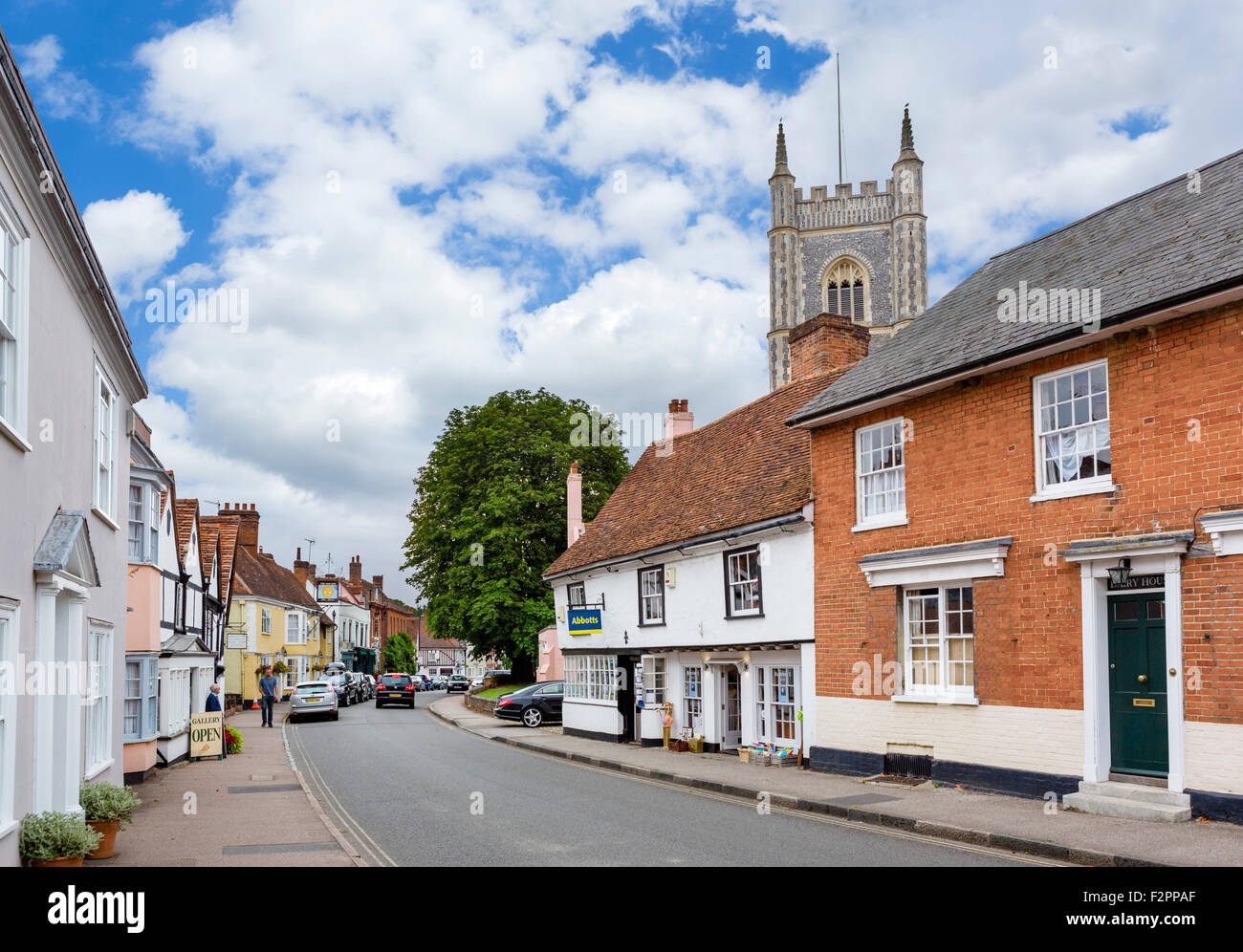 The High Street in Dedham, 'Constable Country', Essex, England, UK - Stock Image