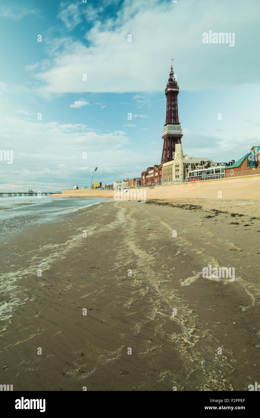 Blackpool, UK. 22nd September 2015. UK Weather: A beautiful evening in Blackpool albeit a little chilly in the breeze - Stock Image