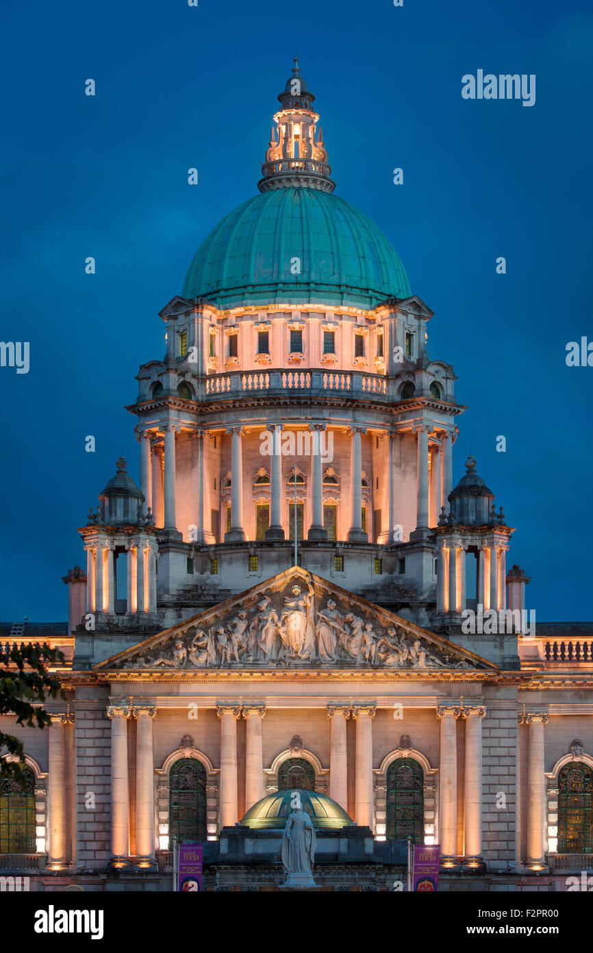 Twilight over Belfast City Hall Building, Belfast, Northern Ireland, UK - Stock Image