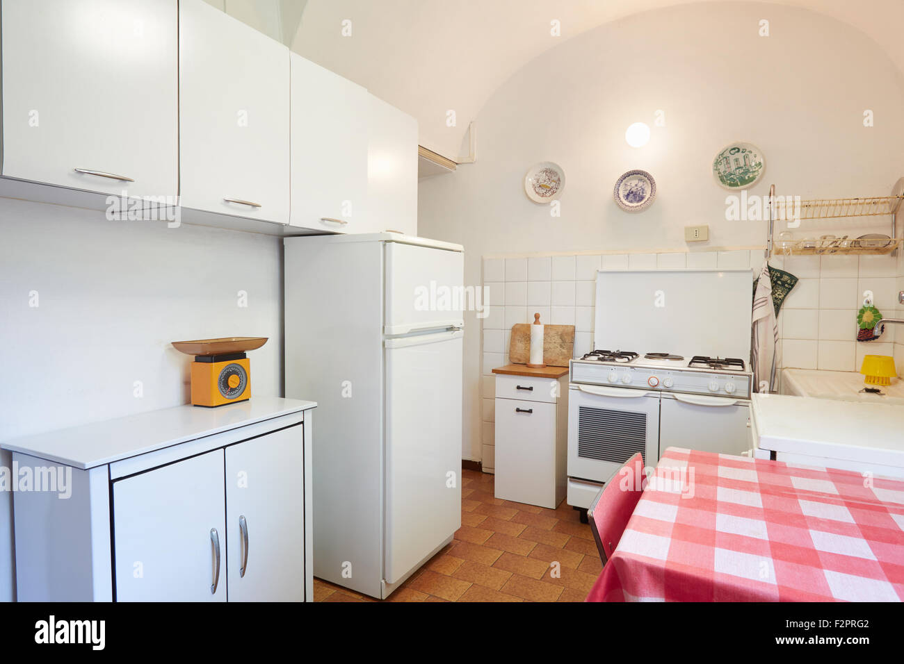 Old kitchen in normal house in Italy - Stock Image