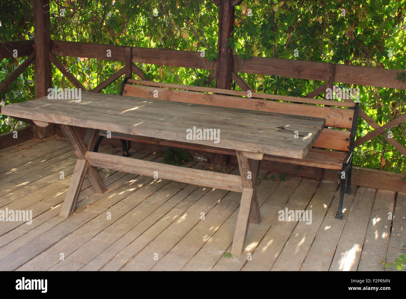 Super There Are Benches In The Gazebo With A Table For Rest Stock Ibusinesslaw Wood Chair Design Ideas Ibusinesslaworg