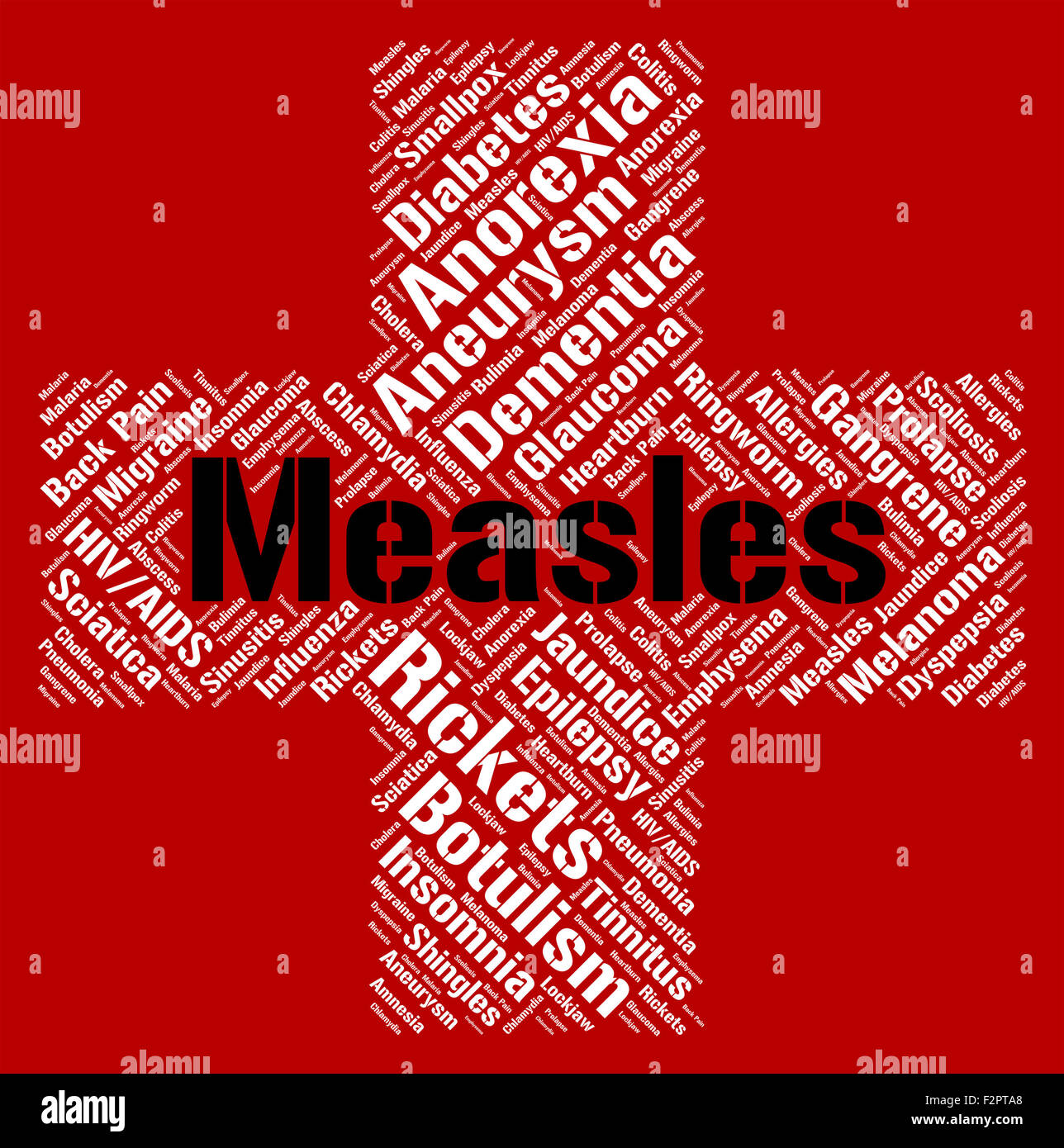 Measles Word Indicating Ill Health And Ailments Stock Photo