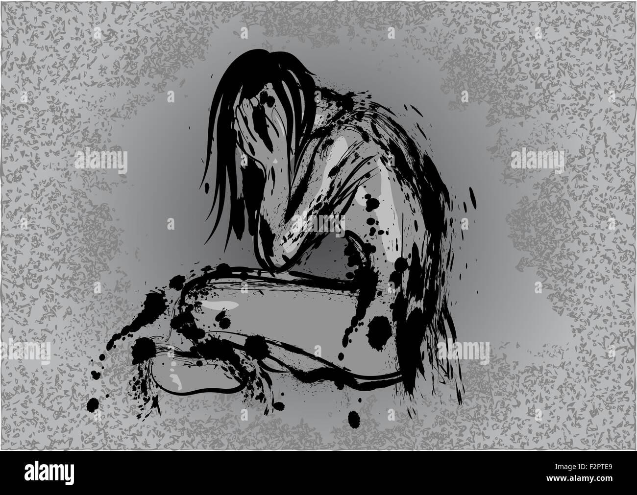 dark depression - Stock Image