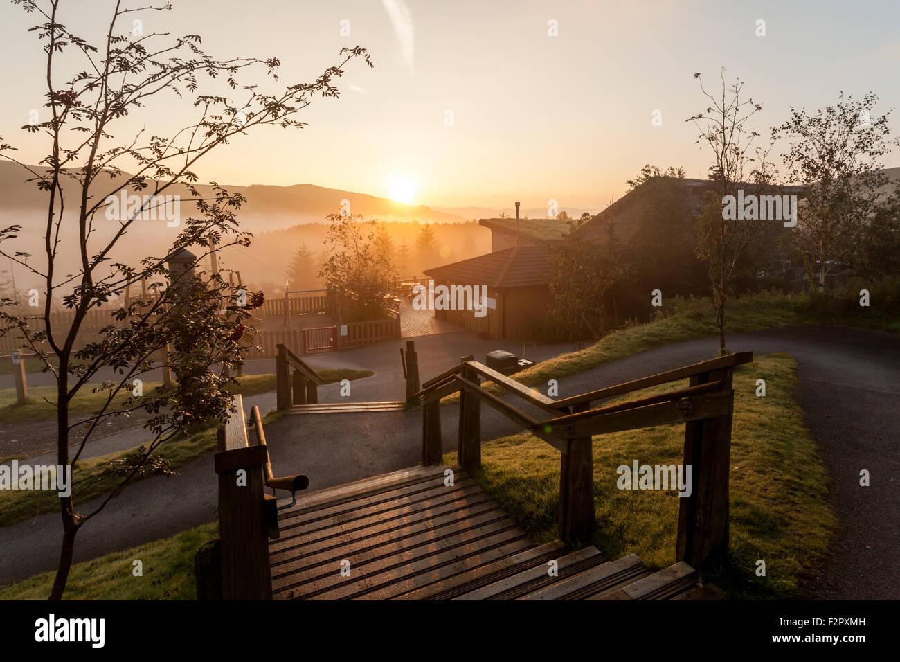 Sunrise over Bwlch Nant Y Arian  Ceredigion Mid Wales UK Stock Photo