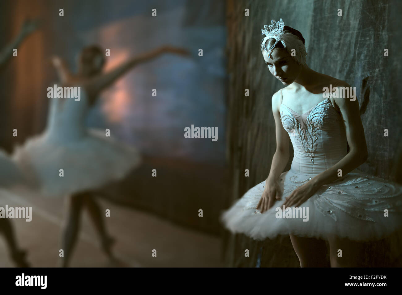Ballerina standing backstage before going on stage - Stock Image