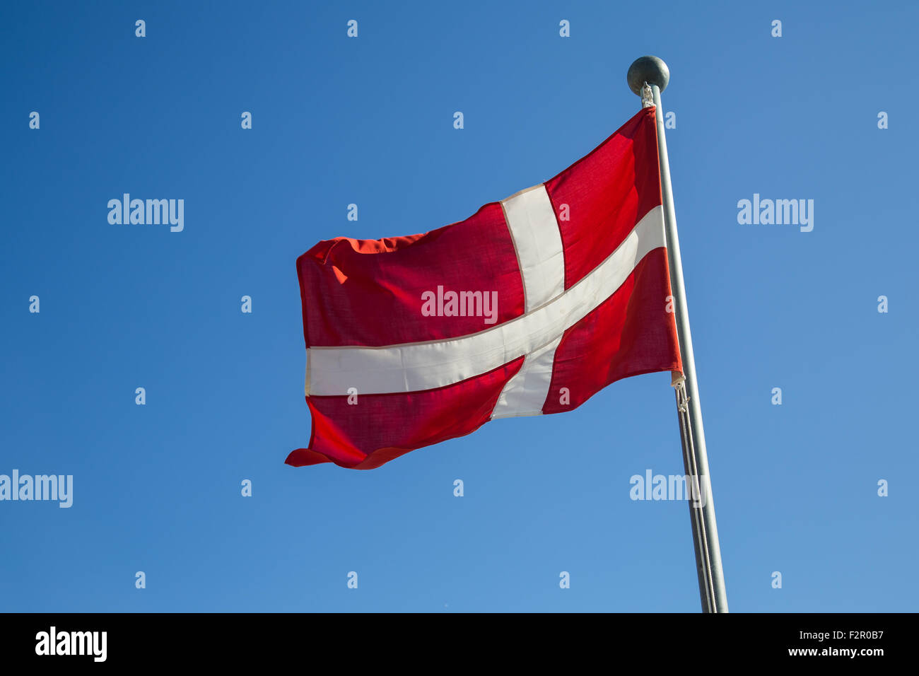 Photograph of the Danish Flag called Dannebrog. - Stock Image
